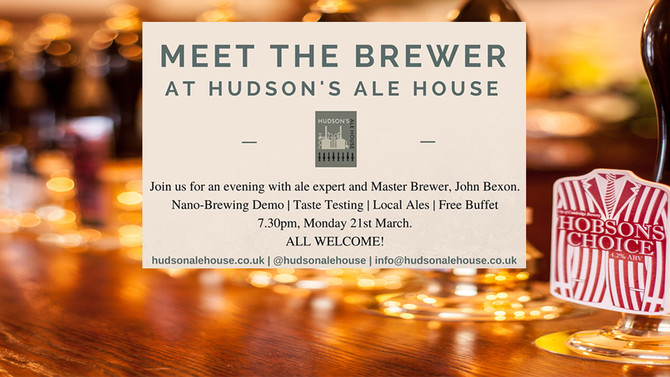 'MEET THE BREWER' AT HUDSON'S ALE HOUSE