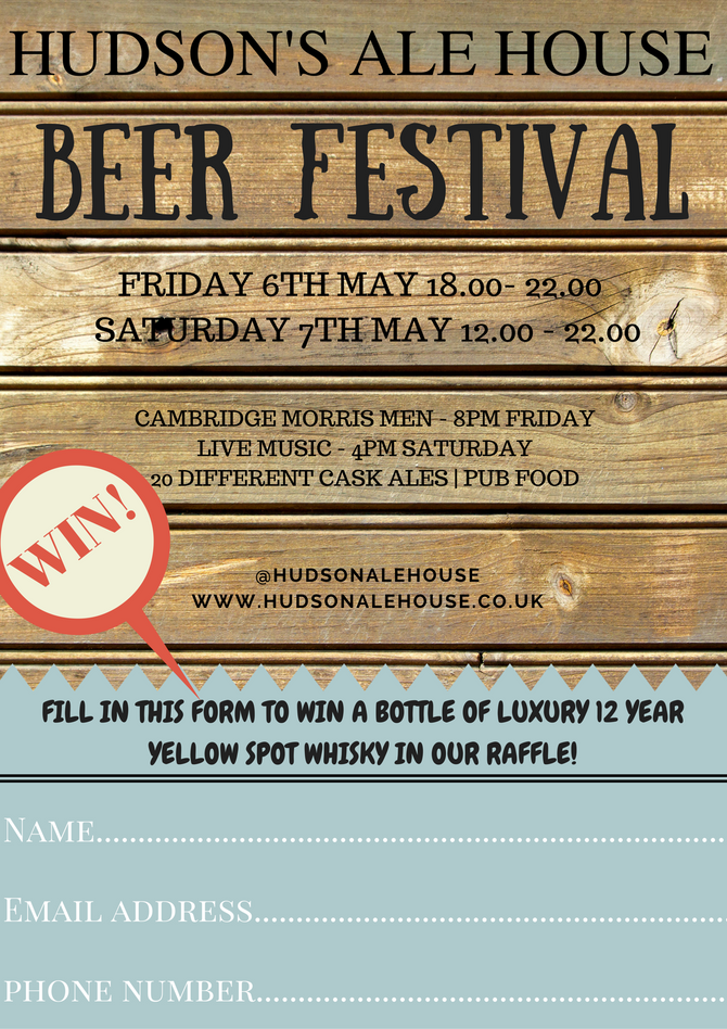 THE HUDSON'S ALE HOUSE BEER FESTIVAL IS COMING TO TRUMPINGTON!