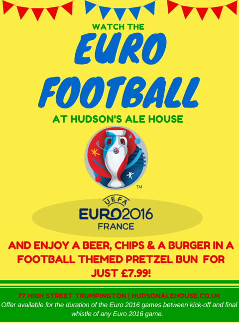WATCH THE EURO FOOTBALL AT HUDSON'S ALE HOUSE!