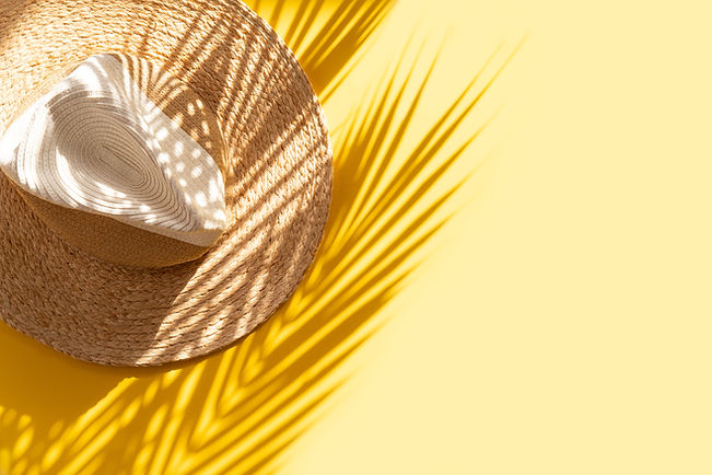 Sun protection object. Straw woman's bea