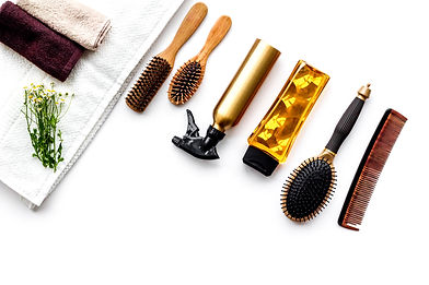Women hair care set. Comb, shampoo, spra