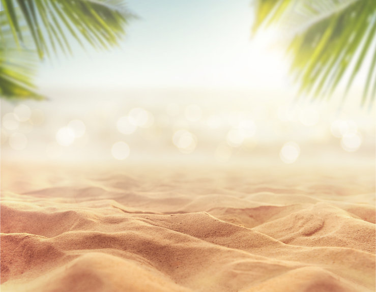 Sand with blurred Palm and tropical beac