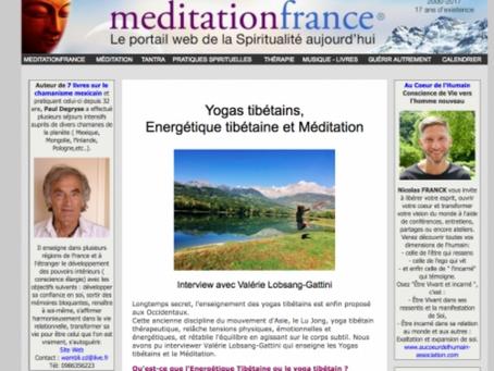 Interview avec Valérie Lobsang-Gattini par Méditation France - Yogas tibétains, Energétique tibétain