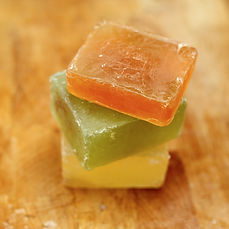 A variety of soaps made with essential oils.