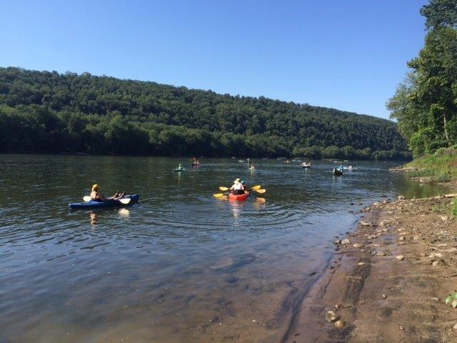 Large kayak group