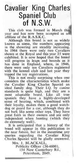 Cavalier Club Notice