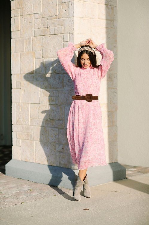 Ganni Georgette Mock Neck Dress
