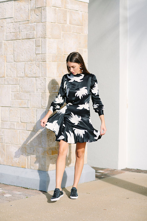 Essentiel Black and White Floral Dress