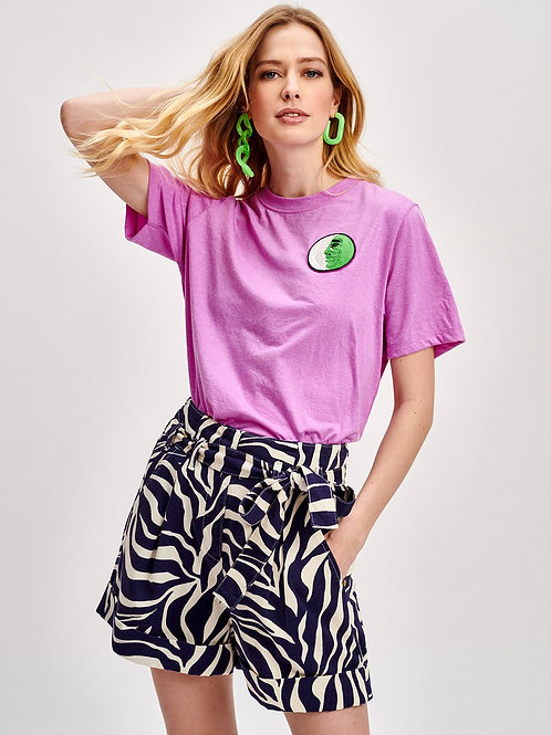 Essentiel Violet Face Embroidered T-Shirt