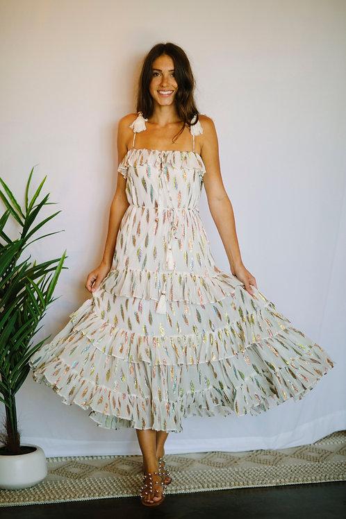 Karina Grimaldi Lori White Metallic Dress