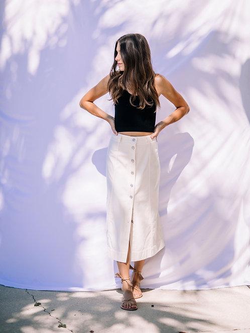 Ganni Chino Button Down Midi Skirt