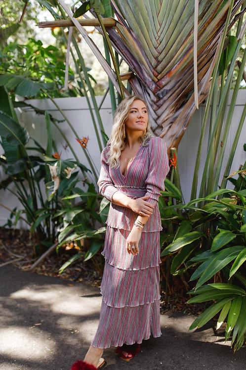 Saylor Alison Lurex Stripe Tiered Maxi Dress