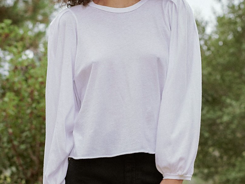The Great cropped Pleat Sleeve Tee
