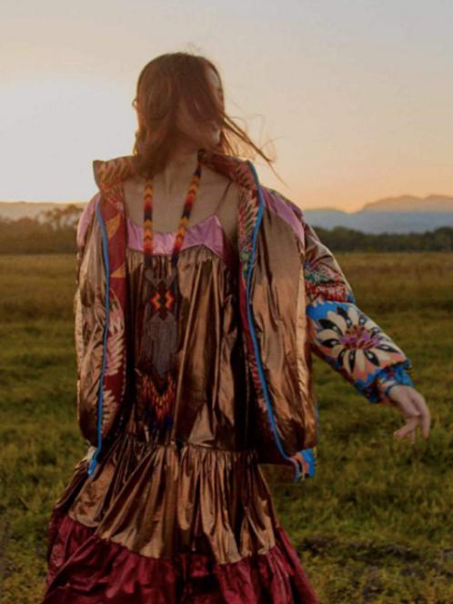 Farm Rio Metallic Tiered Midi Dress