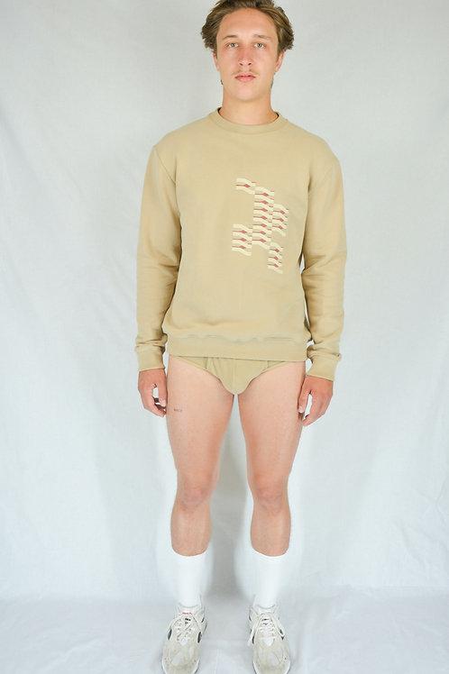Beige embroidered sweatshirt