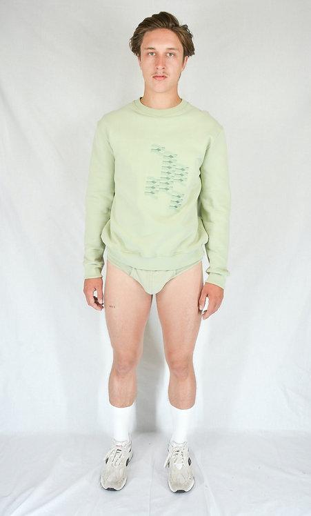 Sweatshirt brodé green almond