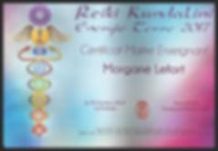 Certificat Maître enseignante reiki kundalini