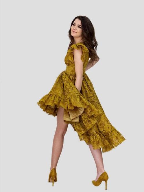Vestido Encaje Color Mostaza