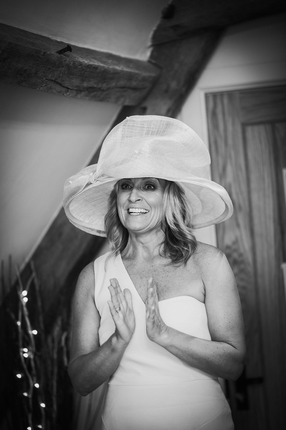 mother of the bride, hat, wedding, excited, pre-wedding, bridal suite,