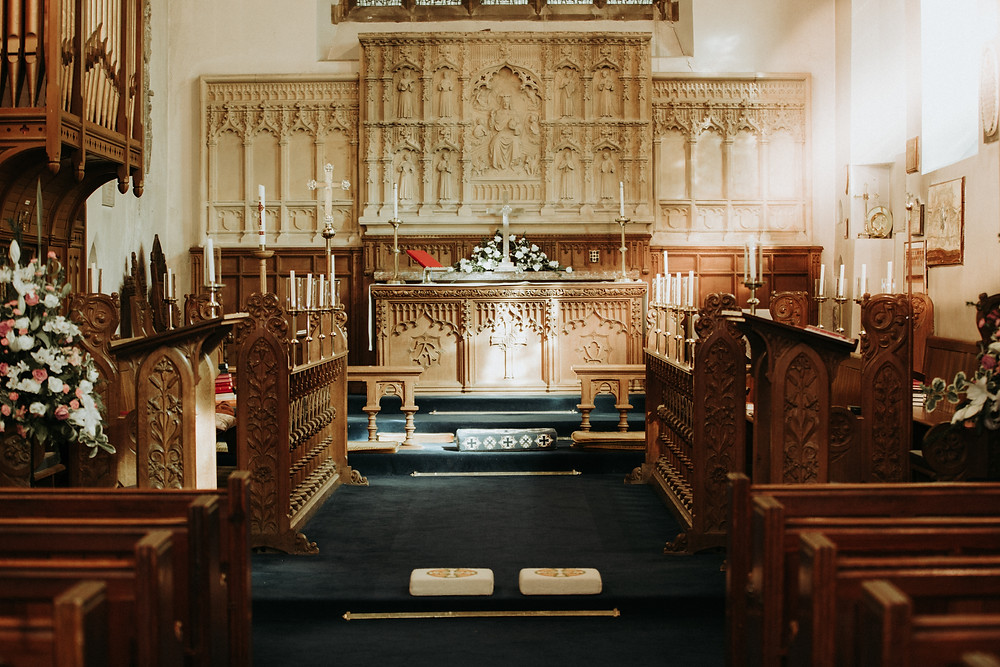 Church Altar, Sun, Stained Glass Window