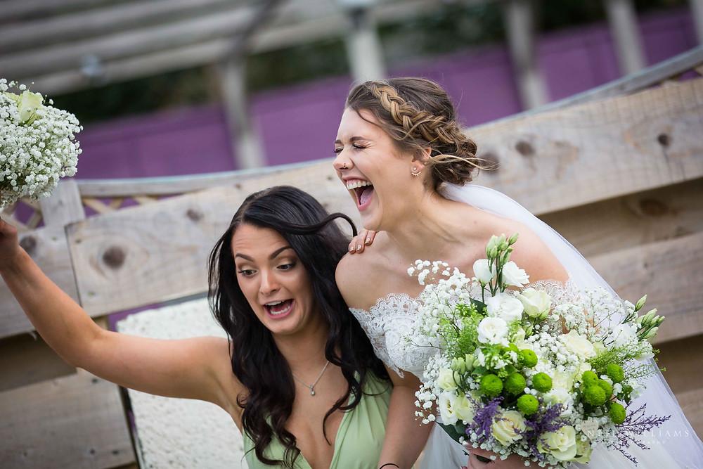 candid, bridesmaid, bride, funny, wedding
