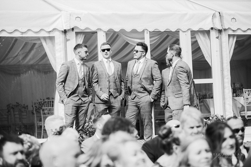 pembrokeshire, neil williams photography, outdoor wedding, hilton court, happy couple, summer wedding, best welsh wedding photographer, wedding, guests, groomsmen, ushers, jackie james carmarthen