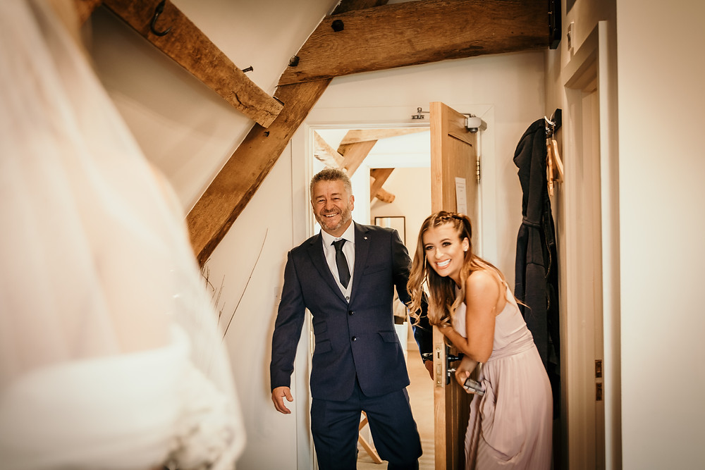 father of the bride, first look, daughter, bride, bridemaids,