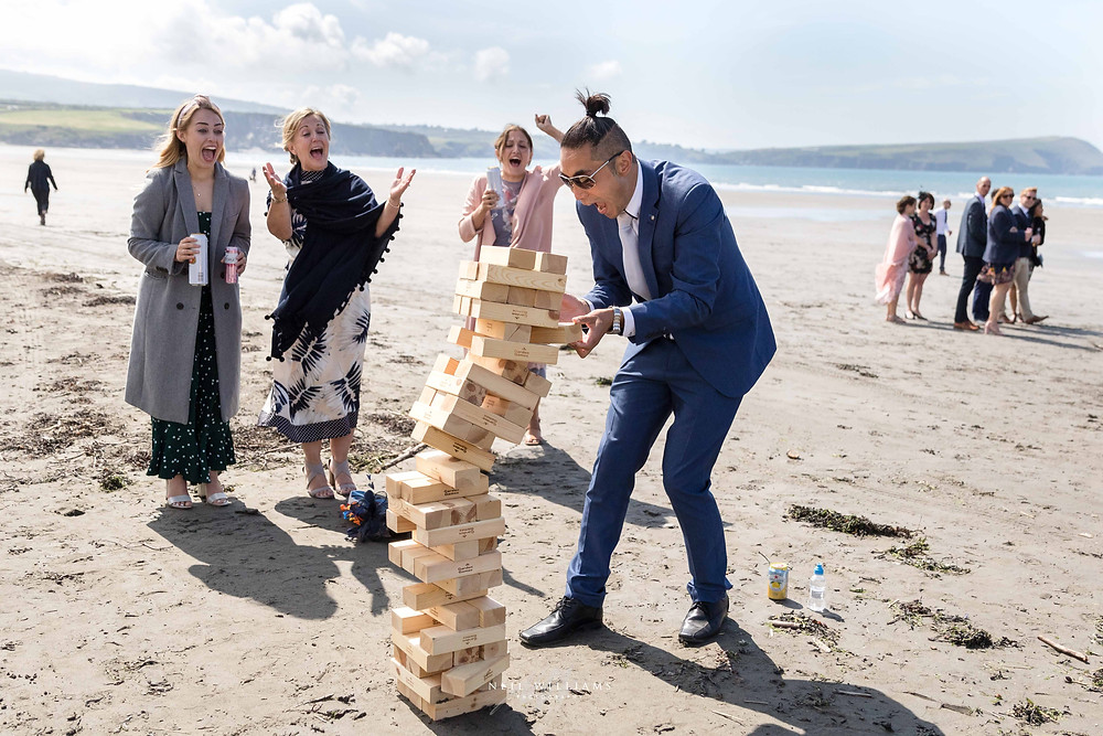 jenga, beach wedding, neil williams photography, south wales, this is reportage