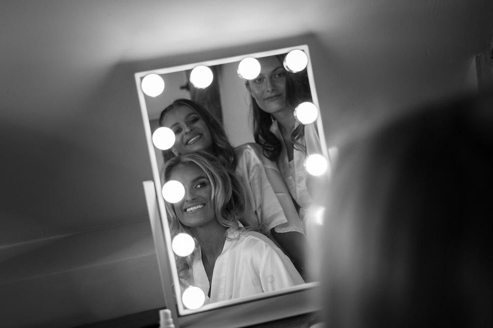 makeup, bridal, portrait, bmakeup, bridal, portrait, b&w, black and white, mirror lights, bridesmaids, bridal party, &w, black and white, mirror lights, bridesmaids, bridal party,
