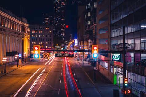 Vancouver, night, trails, light, trails, cityscape, nightscape, hustle, bustle, british, columbia, explore canada, granville street, st.