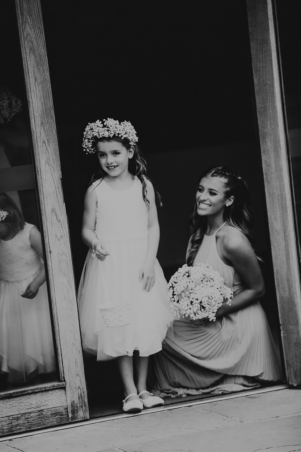 flower, girl, headpiece, flowers, bouquet, black and white, bridesmaids,