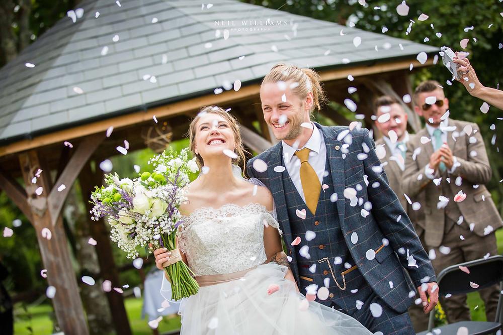 outdoor wedding, hilton court, white bride, jackie james, confetti shot, happy couple, summer wedding, best welsh wedding photographer,