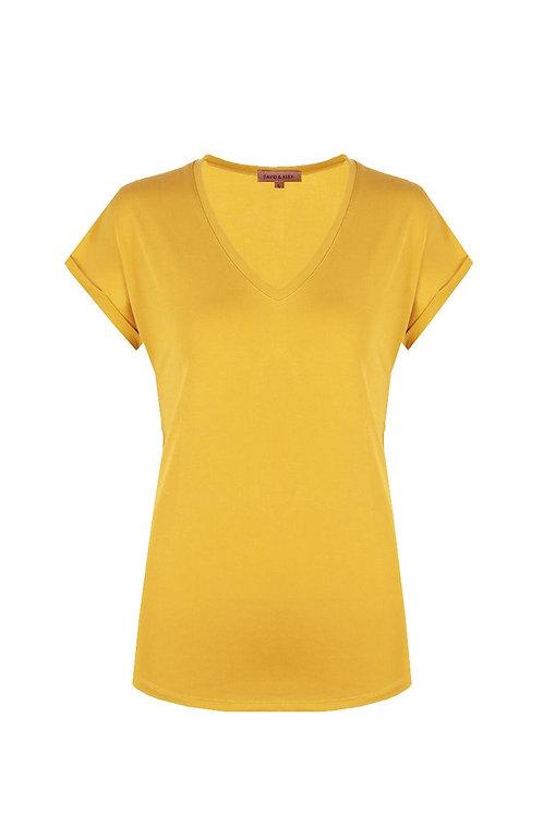 Basis t-shirt geel