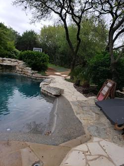 Custom stone pool walkway and path