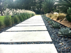 Water wise stone pathway, succulents and black star gravel