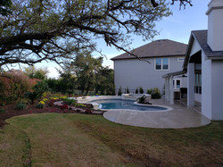 Pool Landscaping & Extended Patio matching home- Green Planet Scapes of Austin, TX