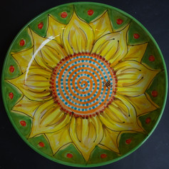 Sunflower bowl with bee