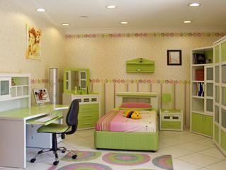 El área de estudio en la habitación de un niño