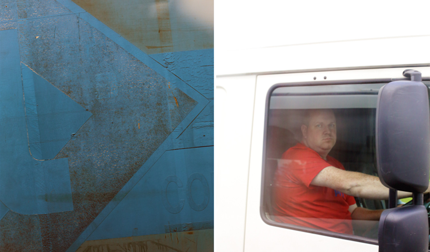 Untitled 07 (Deep Blue–RED T), 2013, digital prints mounted on Dibond, framed diptych; each panel 100 x 66 cm
