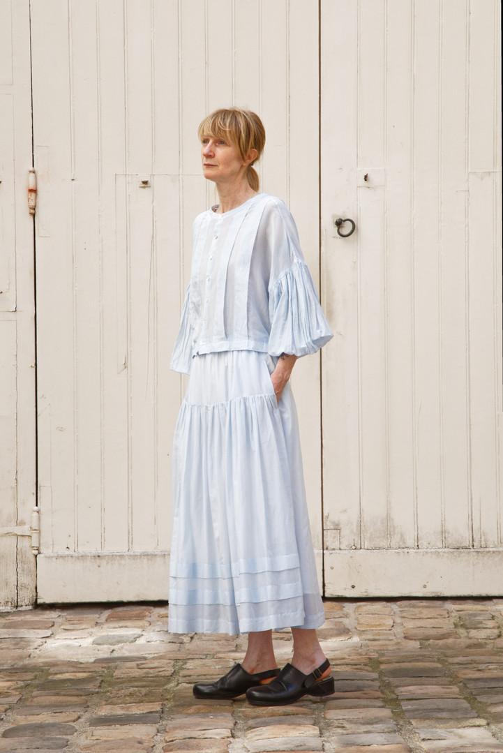Top : TILDA  Light blue Skirt : SANDRINE Light blue