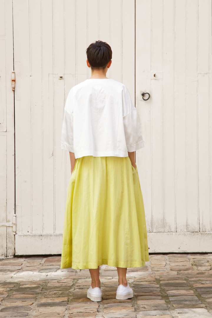 Top : THIBAUD White Skirt : SANDRINE  Yellow