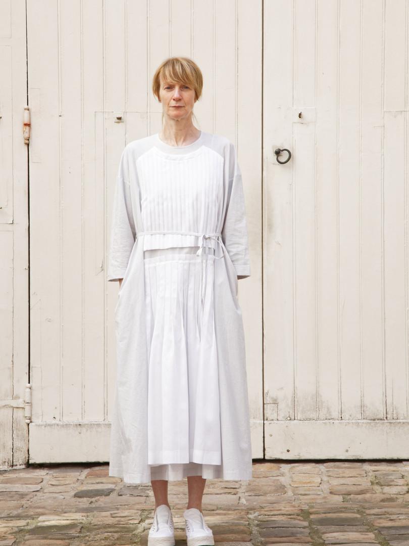 Dress AGNES White / Light grey