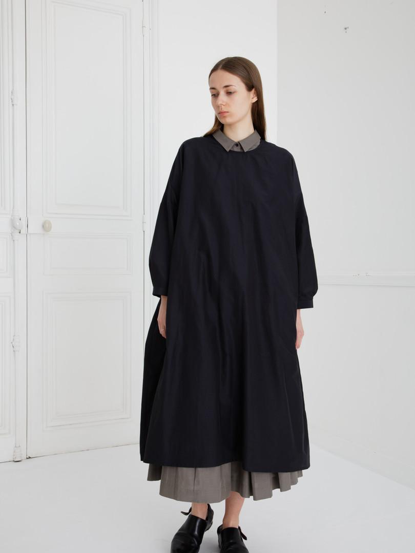 Dress : DAMIA Black Shirt : BRIGITTE Smoke taupe Skirt : SOLANGE Smoke taupe