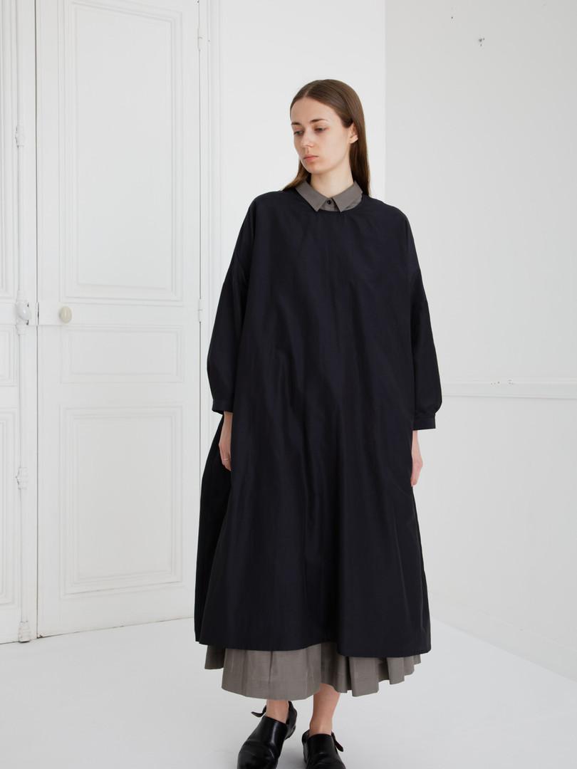 Dress : DAMIA Ink black Shirt : BRIGITTE Smoke taupe  Skirt : SOLANGE  Smoke taupe