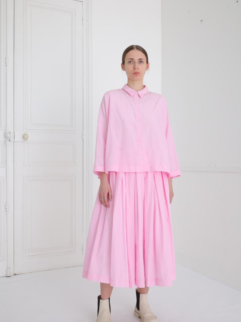 Shirt : BRIGITTE Lilac pink Skirt : SOLANGE Lilac pink