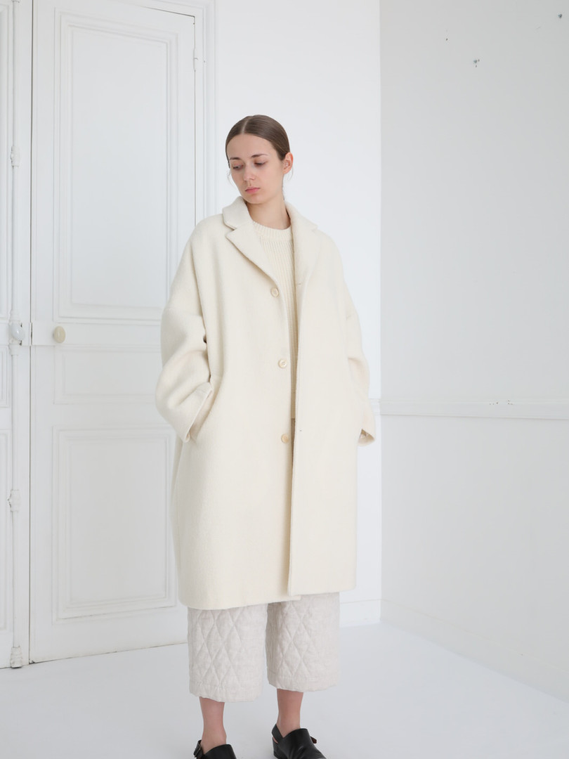 Coat : COPER Ivory Top : KATE Ivory Pants : PIERRE Ivory