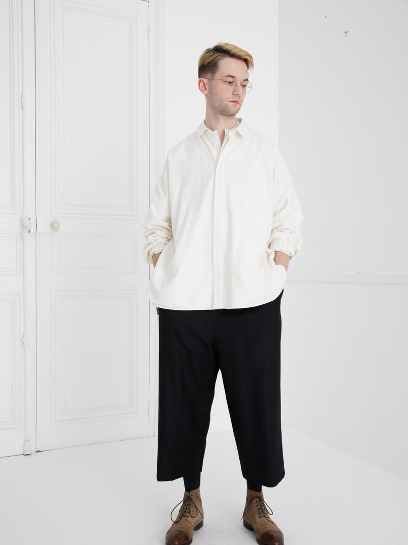 Shirt : SAM Ivory Shirt : BASIL Ivory Pants : PIERRE Khaki  beige/ Black (reverse side)