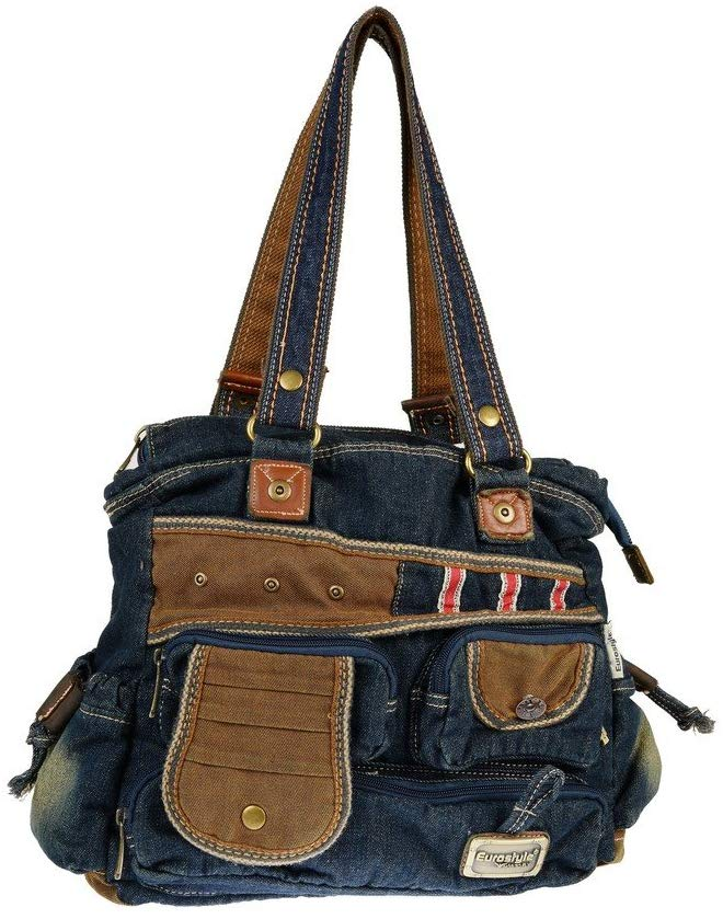 Denim & Brown Handbag