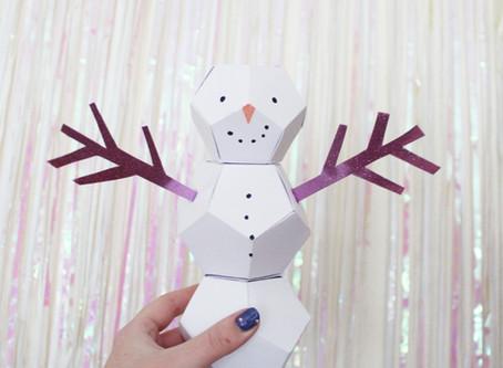 Day Seven | DIY Groovy Geometric Snowmen | 12 days of Christmas crafts