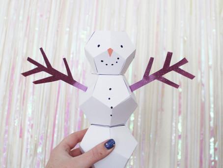 DIY Groovy Geometric Snowmen | 12 days of Christmas crafts